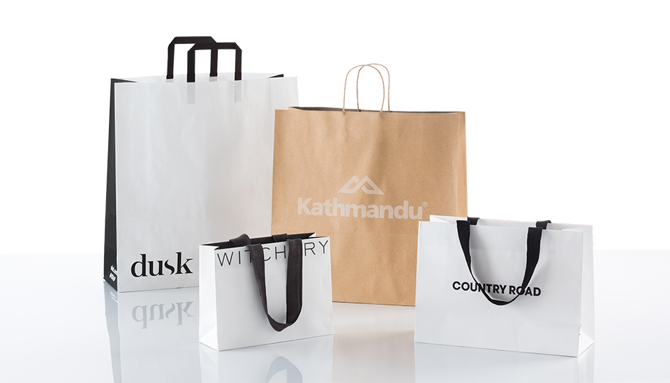 Image of PaperPak products; dusk bag, Witchery bag, Kathmandu and Coutnry Road