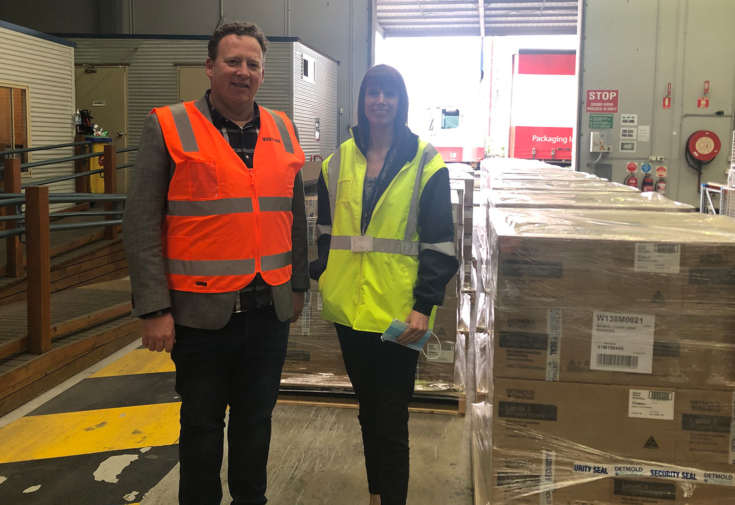 Detmold Group's Tom Lunn as first delivery of masks for SA Health
